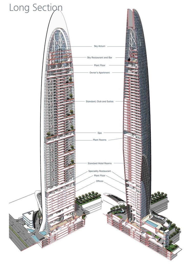 Section diagram of Namaste Tower, New Unique Skyscraper In Mumbai