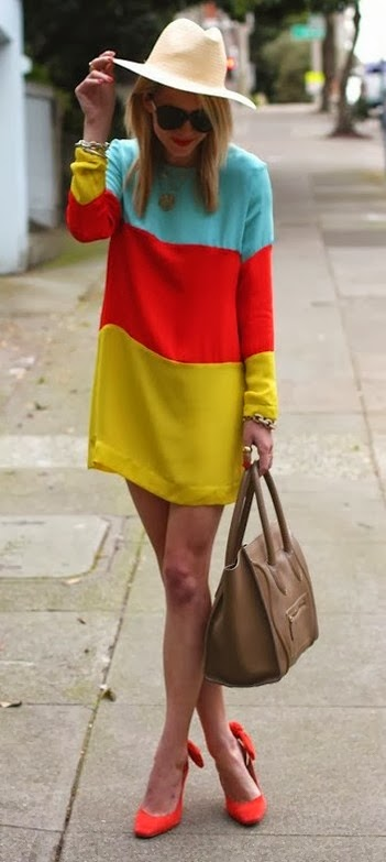 Color Blocked Shift Dress
