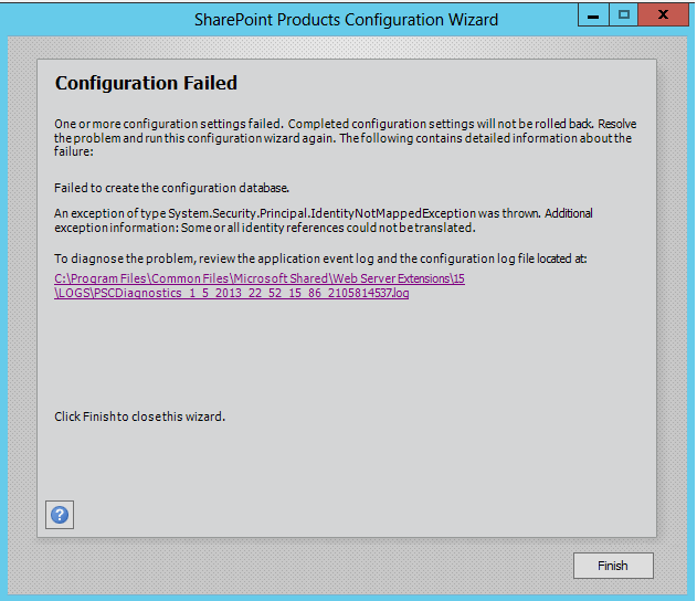 Configuration Failed: Failed to create the configuration database in SharePoint Products Configuration Wizard