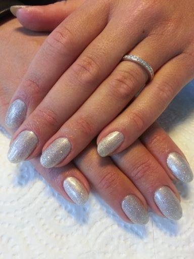 Silver chrome french manicure acrylics + silver chrome manicure