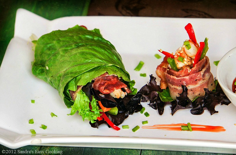 Delicious Lettuce Wrapped Marinated Shrimps with Bacon