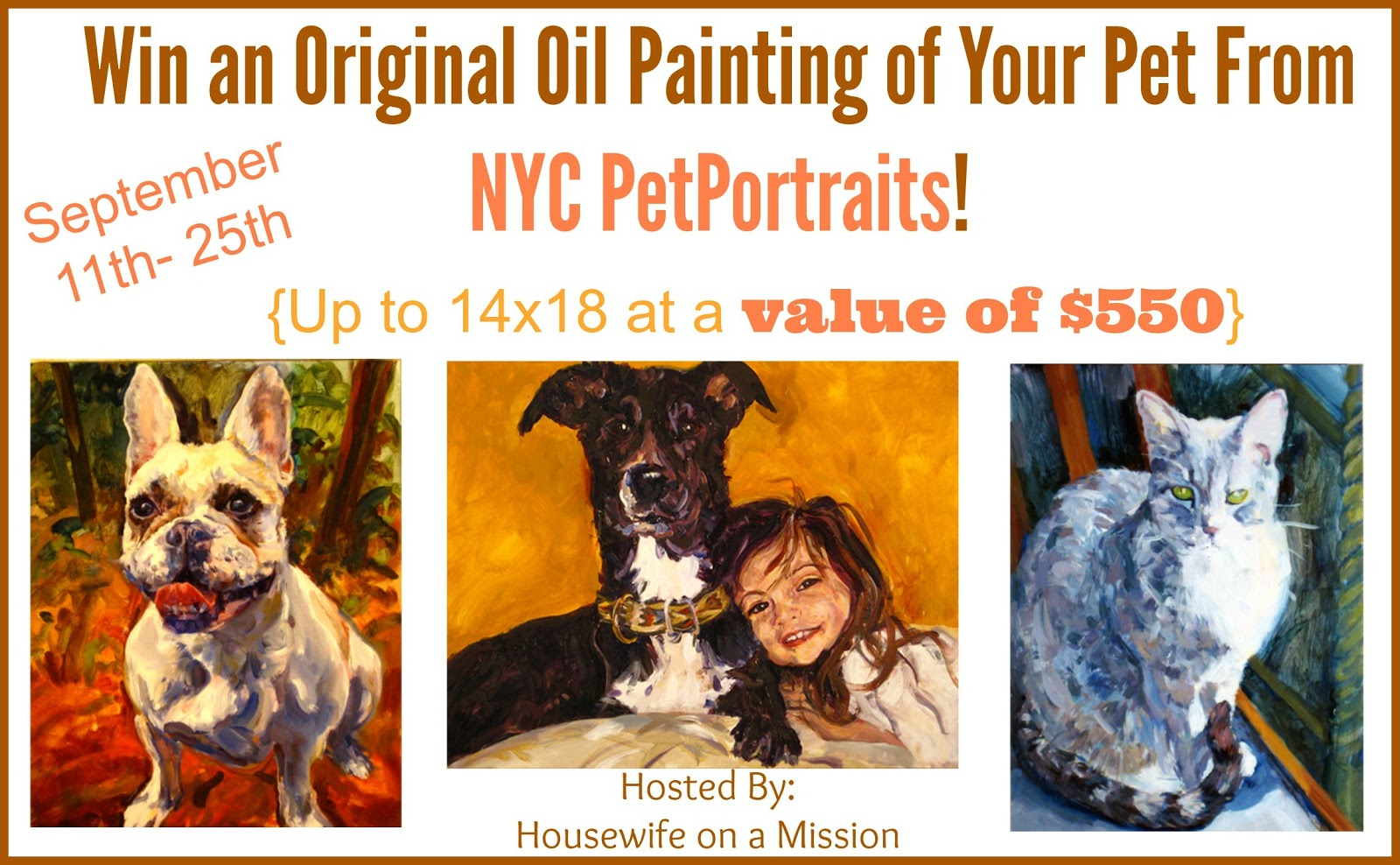 Enter the NYC PetPortraits Giveaway. Ends 9/25.