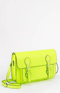 neon yellow purse with cool buckles