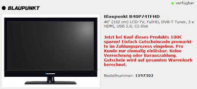 40 Zoll LCD-TV Blaupunkt B40P74TFHD für 259,98 Euro inklusive Versandkosten