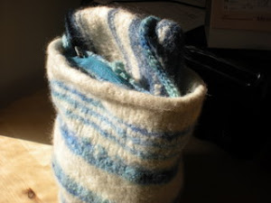 Blue and white felted Basic Tote