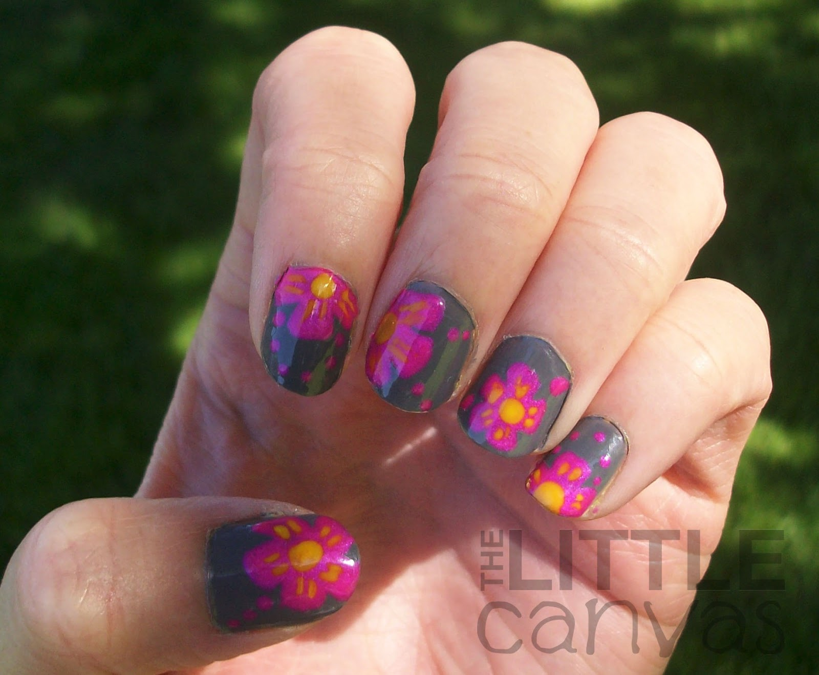 Tropical ish Flower Nail Art The Little Canvas