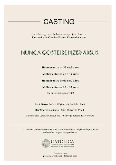 Casting para curta metragem da Escola das Artes da Universidade Católica do Porto