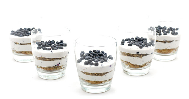Mini trifle banana bread and blueberries recipe shot