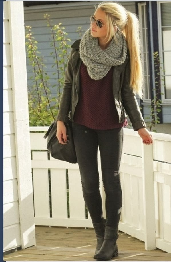 Adorable scarf, black jacket, red sweater, pants and shoes style for fall