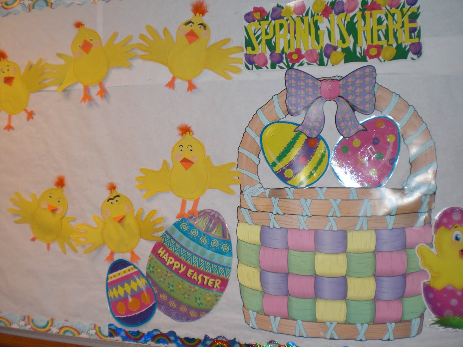 Easter bulletin board ideas easter chicks made from traced