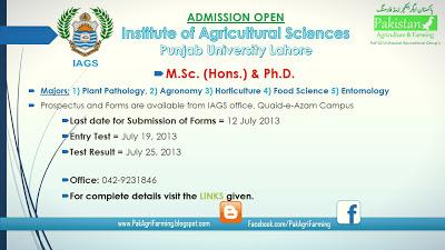 Institute of Agriculture Sciences (IAGS) Punjab University Lahore Postgraduate Admission Notice