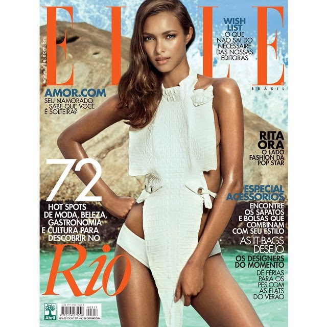 Lais Ribeiro covers Elle Brazil October 2014 in an Ellus swim look