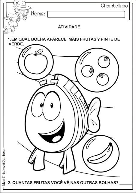 Atividade Alimentação Matemática Infantil