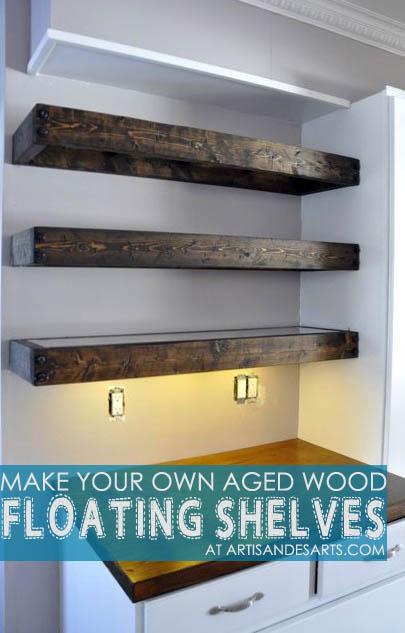 DIY Aged Wood Floating Shelves