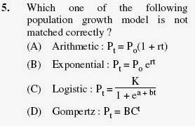 2012 June UGC NET in Population Studies, Paper II, Question 5