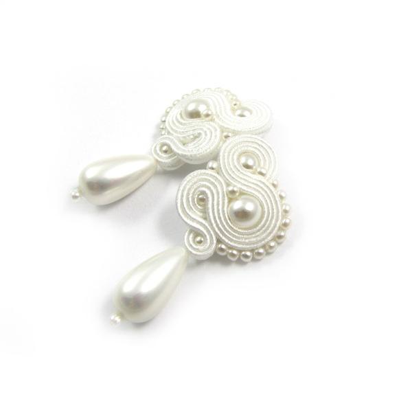 Ślubne kolczyki sutasz z perłami