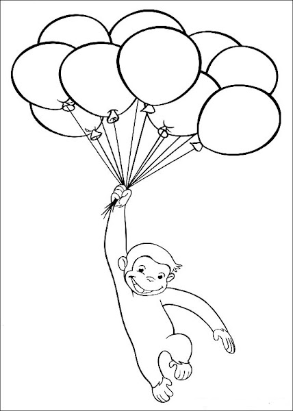 Curious George Balloon Coloring Pages