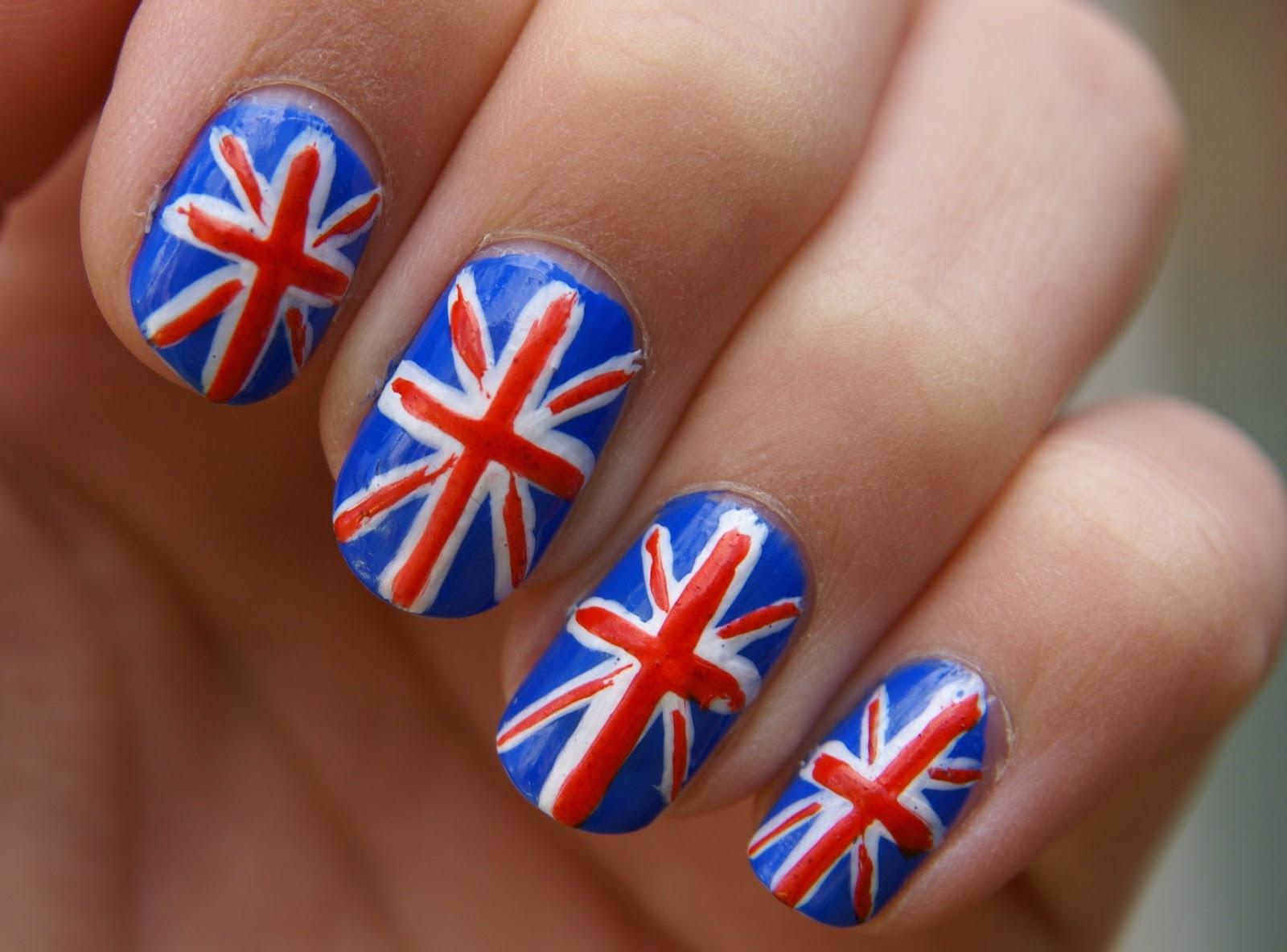 Красивый маникюр британского флага