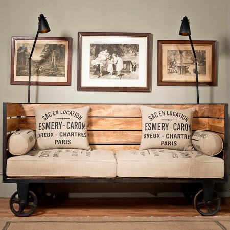 industrial chic vintage trolley sofa on wheels