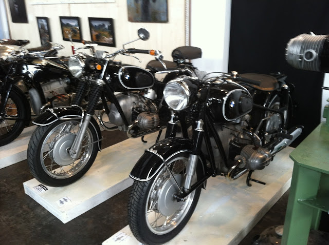 Two vintage BMW motorcycles