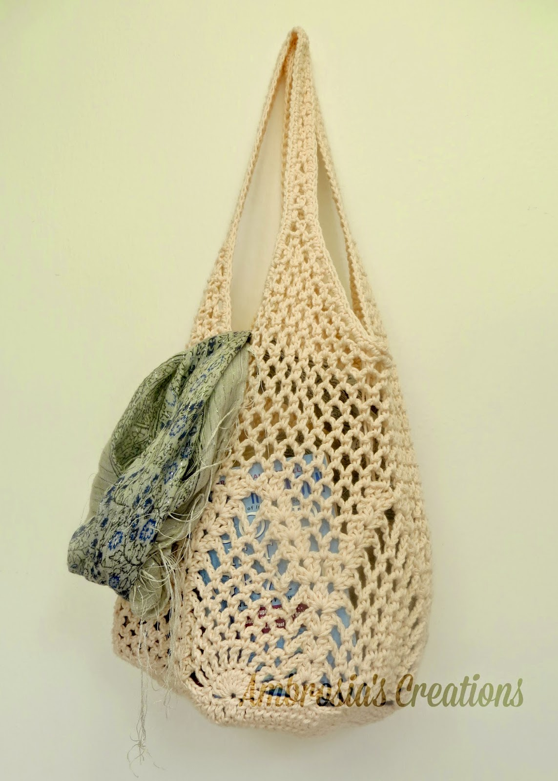 Crochet Net Bag Pattern Free : Ambrosias Creations: Pattern:: Pineapple Crochet Market ...
