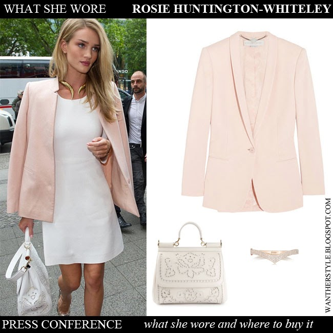 Rosie Huntington-Whiteley in pale pink blazer Stella McCartney Mattea,  white mini dress with 08c4bf9b9d