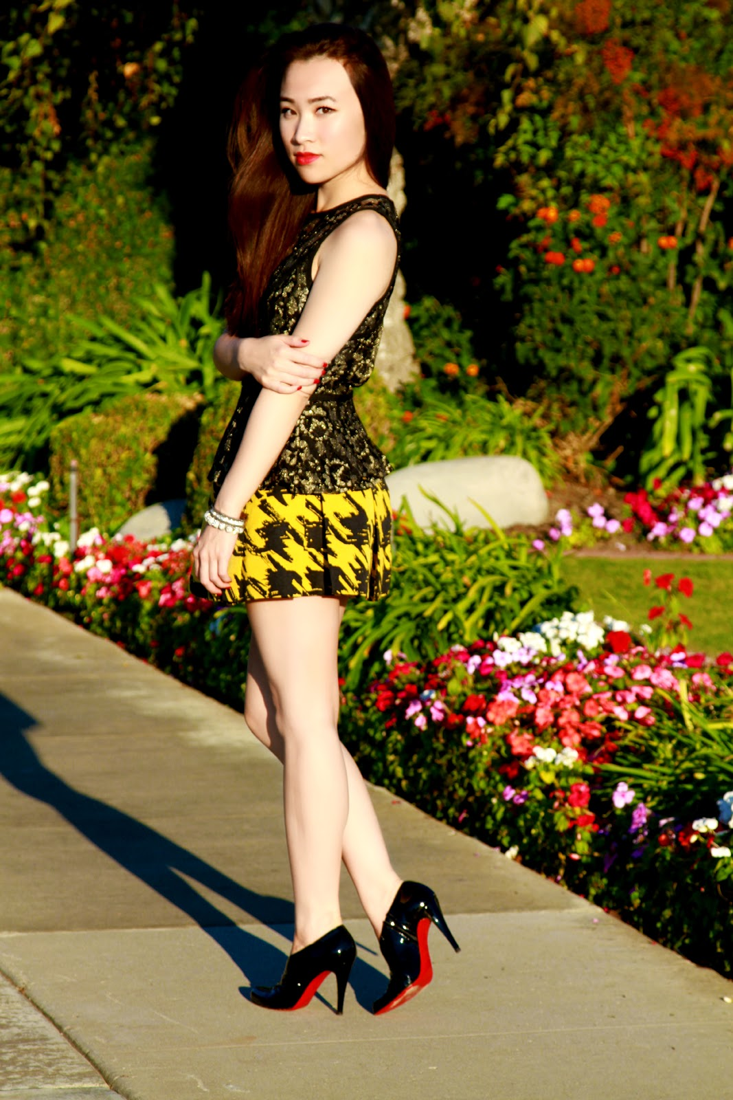 lace peplum and mustard houndstooth