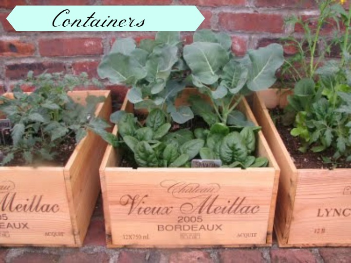 Wine crate herb garden