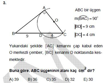 2010 LYS GEOMETRİ 3. SORU