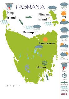 TASMANIA WEATHER MAP