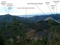 L'ermita de Sant Ramon i el nucli de Sant Climent de Llobregat des de la pujada al Pi de Can Cartró