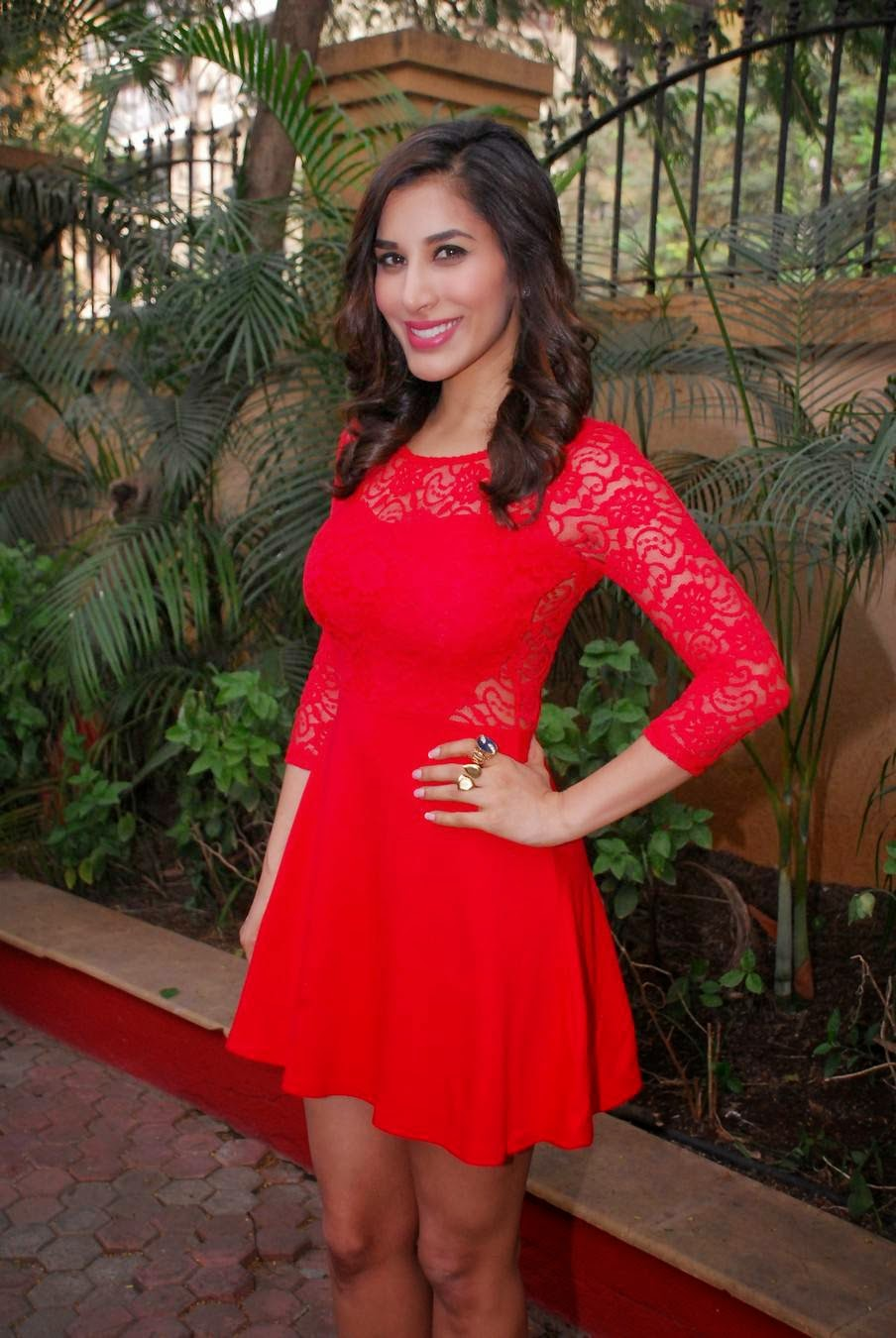 Actress Sophie Choudry Latest Cute Hot Red Mini Skirt Dress Spicy Thighs Show Photos Gallery At Pune CCIL New Year Bash Event Press Meet