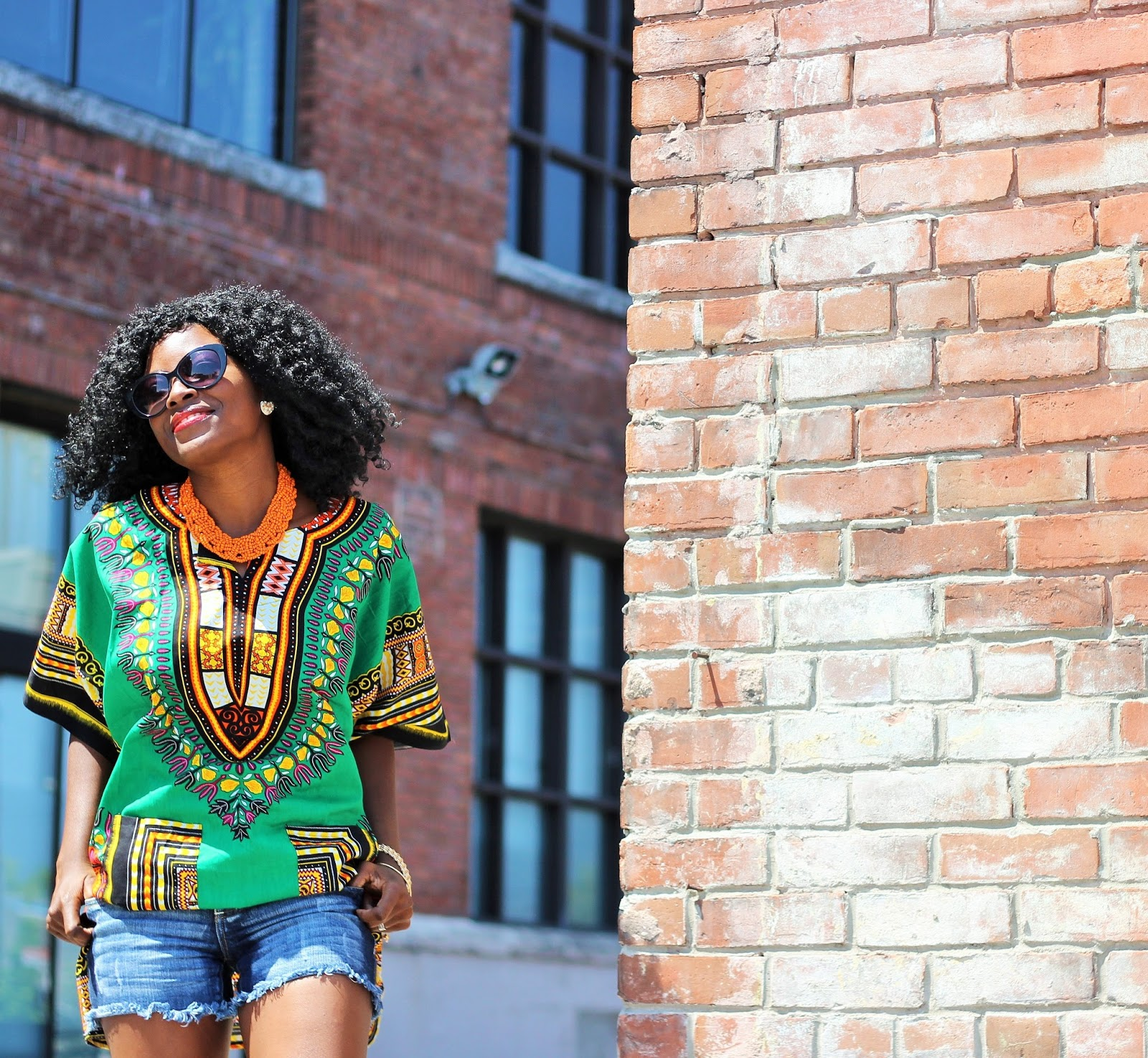 DASHIKI SHIRT AND BEADED NECKLACE