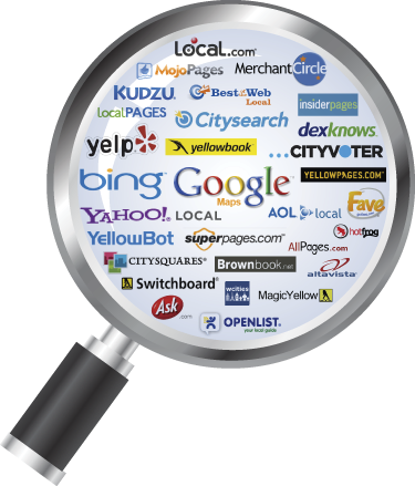 This is a picture of a magnifying glass with an assortment of search engines such as Google, Bing, Yahoo, and Yelp.