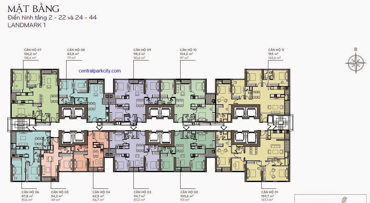 Căn hộ Landmark 1 - mặt bằng tầng 2 - 22 và 24 - 44