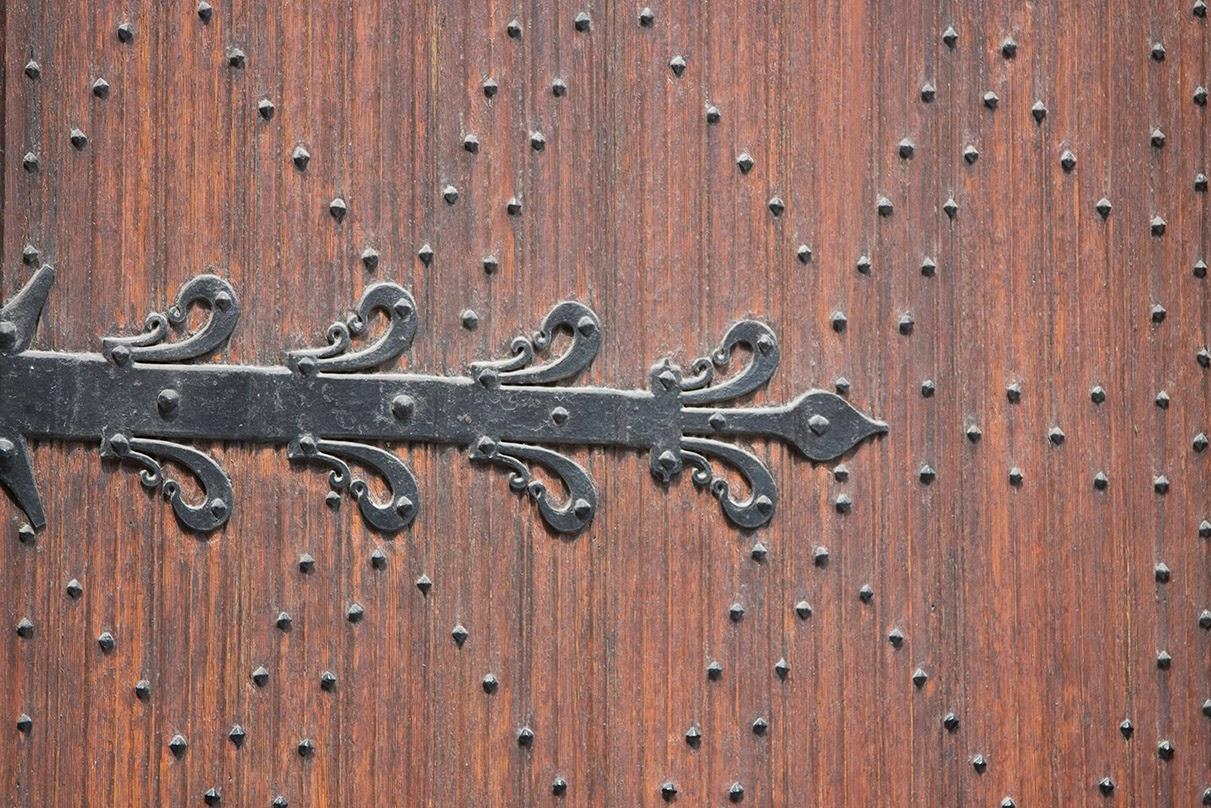 ironwork on wooden church door