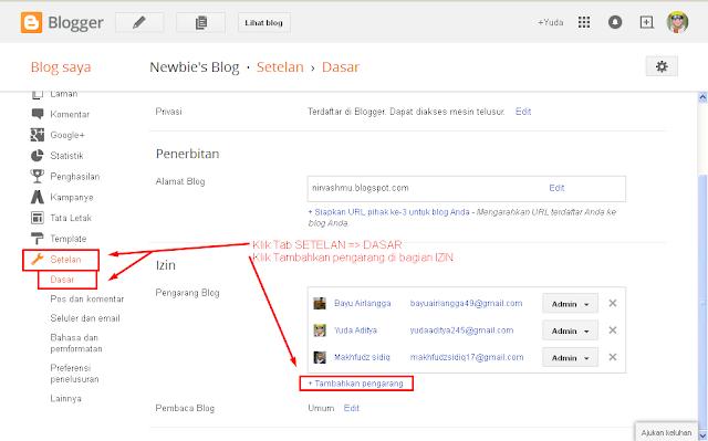 Step Menambahkan Admin Blogger