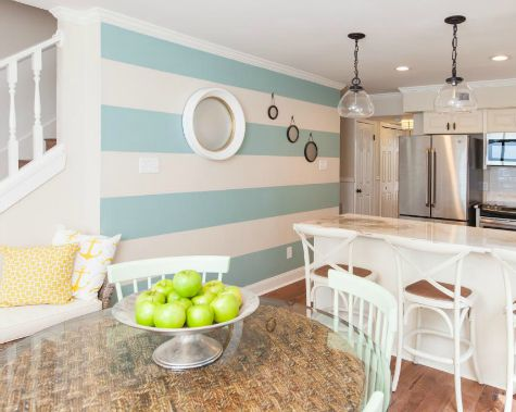 Striped Accent Wall Kitchen Dining Room