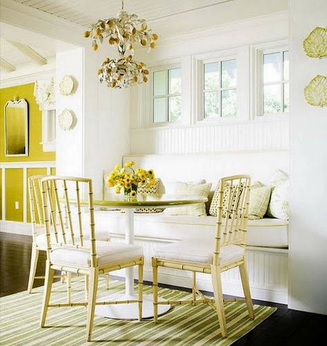 Beach style kitchen banquette with high window gallery
