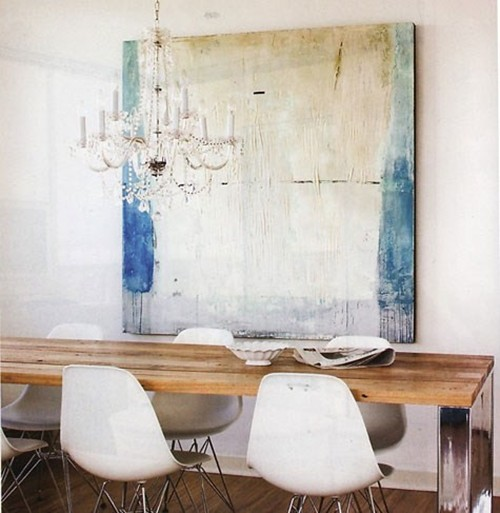 White Rustic Dining Room Table and Chairs