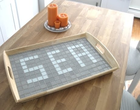 Ikea tray hack with mosaic tiles