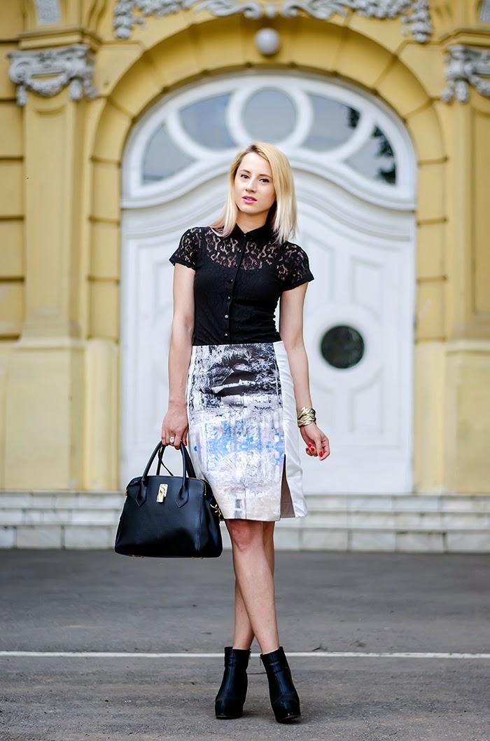 lace shirt H&M trend landscape skirt H&M black boots Nowistyle bag