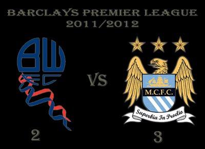 Bolton vs Manchester City Barclays Premier League Results