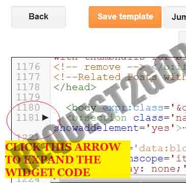How to expand widgets code in new Blogger Template HTML editor-2013