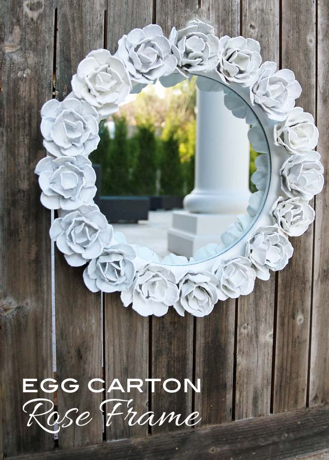 make egg carton flower frame