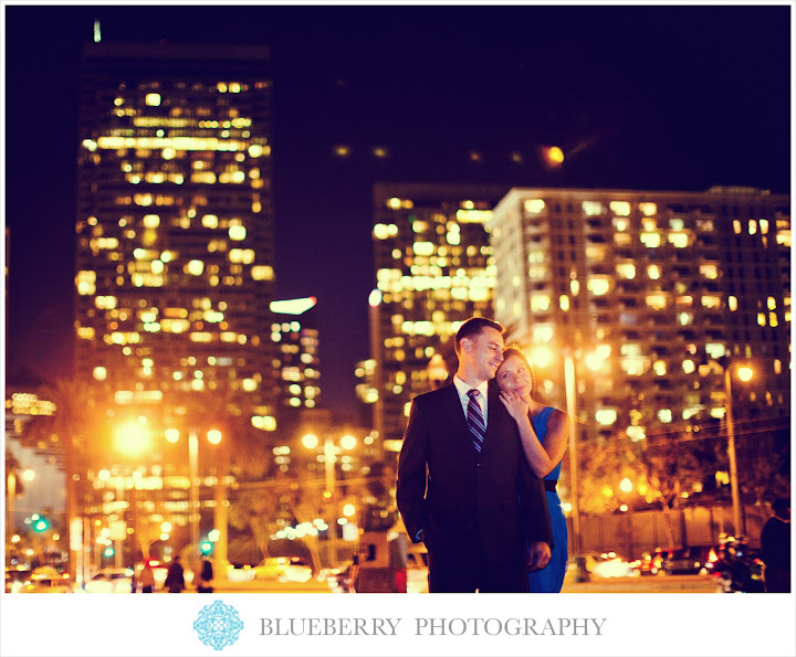 San francisco amazing night scene city lights engagement session photography
