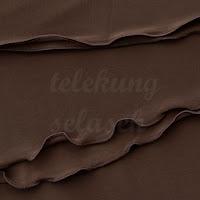 Telekung lycra coklat gelap corak curly di tepi