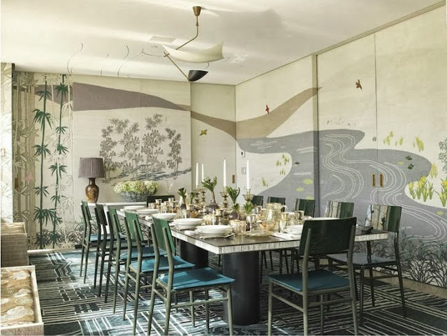 Modern Chinoisserie dining room with a wall mural