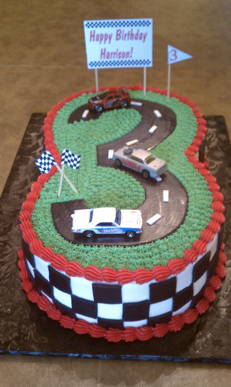 The Number 3 Racetrack And Checkboard Sides Are Homemade Rolled Fondant Signs Just Printed On Cardstock Not Edible In Other Words