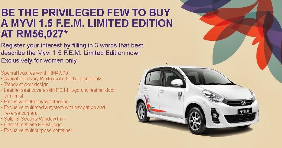 Perodua Introduces Limited Edition Fem Myvi 1 5 Sabah Report